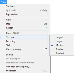 Internet explorer view drop down menu