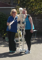 Paula with a training skeleton